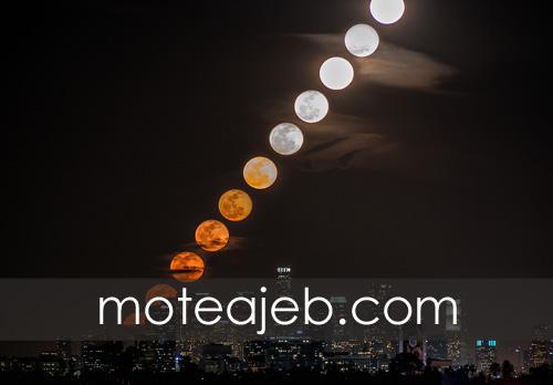 the moon rise in los angeles - ظهور ماه در شهر لس آنجلس
