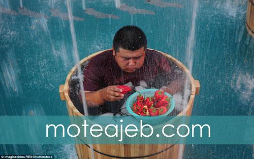 Pepper Khoury unusual race in China - مسابقه عجیب فلفل خوری در چین