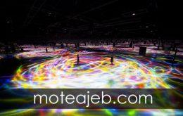 استخر ساخته شده از نور های رنگارنگ