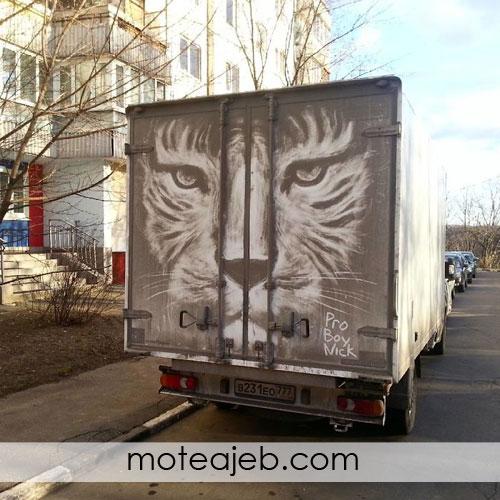 نقاشی هایی بر روی گرد و خاک کامیون ها